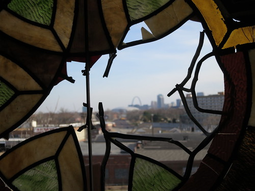 Downtown through broken Stained Glass