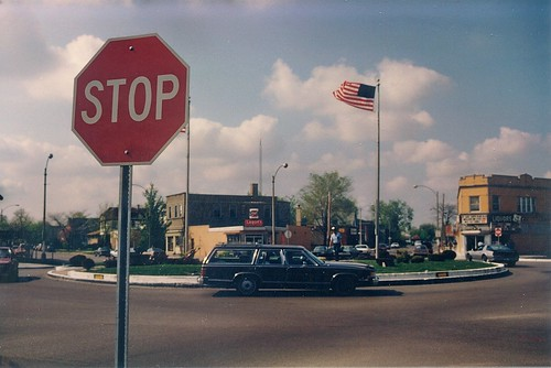 The Eight Corners traffic circle.  Brookfield Illinois.  May 1989. by Eddie from Chicago