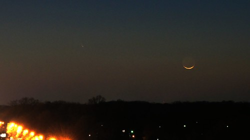 Comet PANSTARRS and New Moon (cropped detail)