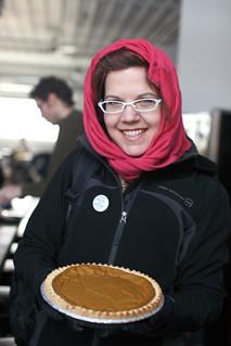 Kjrsten with her homemade pumpkin pie