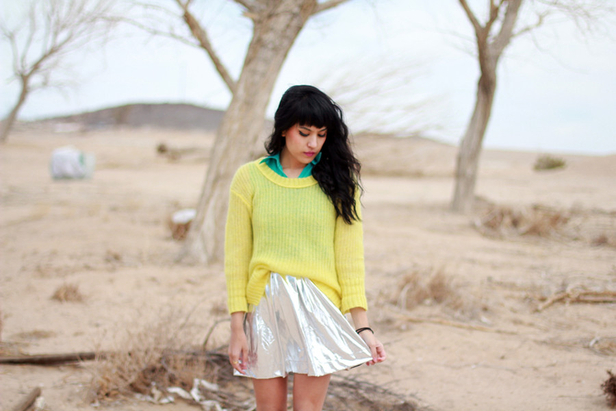Metallic silver skater skirt, Tarte Vintage lime green knit at shoptarte.com