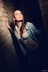 Kristin in the wine cellar