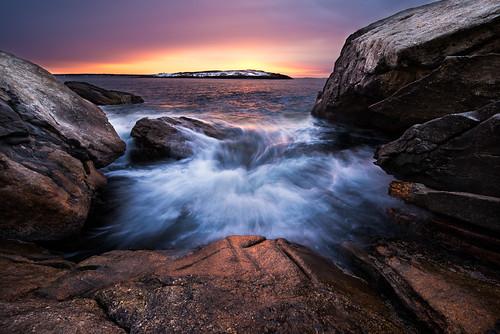 ocean park snow rock sunrise island waves state maine atlantic reid