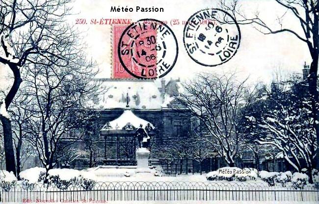 place Marengo à Saint-Etienne sous une épaisse couche de neige le 25 mars 1906 météopassion