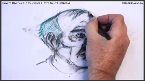 learn how to draw an old man's face in two point perspective 030