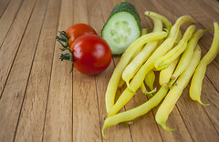 Tomatoes,Yellow beans and Cucumber