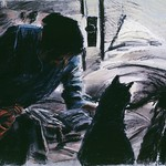 Woman and cat; pastel, 22 x 30 in, 1986