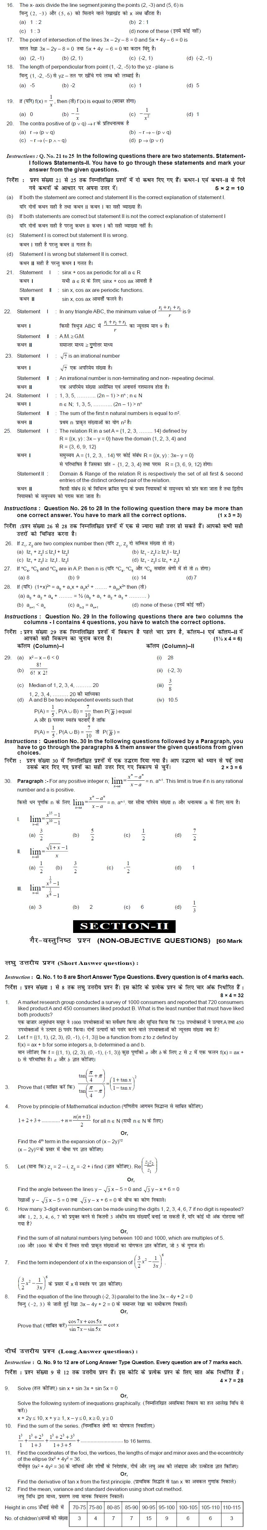 Bihar Board Class XI Science Model Question Papers - Mathematics