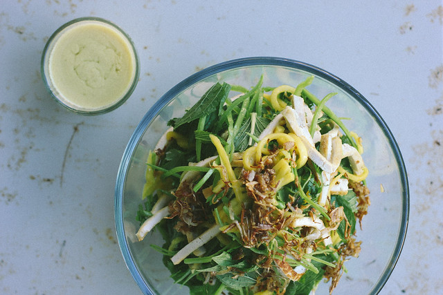 mango, tofu + herb salad with dijon mustard dressing