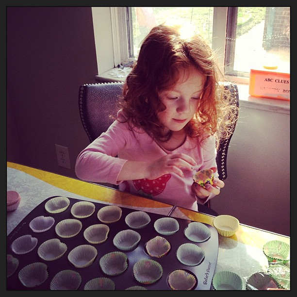 Making Marvelous Mini Muffins for M day at school.
