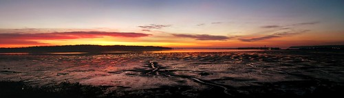 ocean pink blue sunset red sea sky panorama orange black reflection water lines silhouette yellow rock clouds rocks mud curves blaine tides semiahmoo tideflats blainewashington emilygrayston
