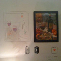 At left: Colored pencil copy by my roommate of a dime store still life print on my bedroom wall. Right: The print. Below: Trompe l'oie by said roommate of unfinished light switch; said unfinished light switch; panic button, again by roomie.