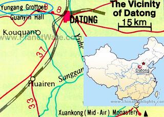 Mapa grutas del Yungang (Datong)