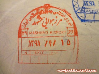 Carimbo de entrada no aeroporto de Mashhad no passaporte