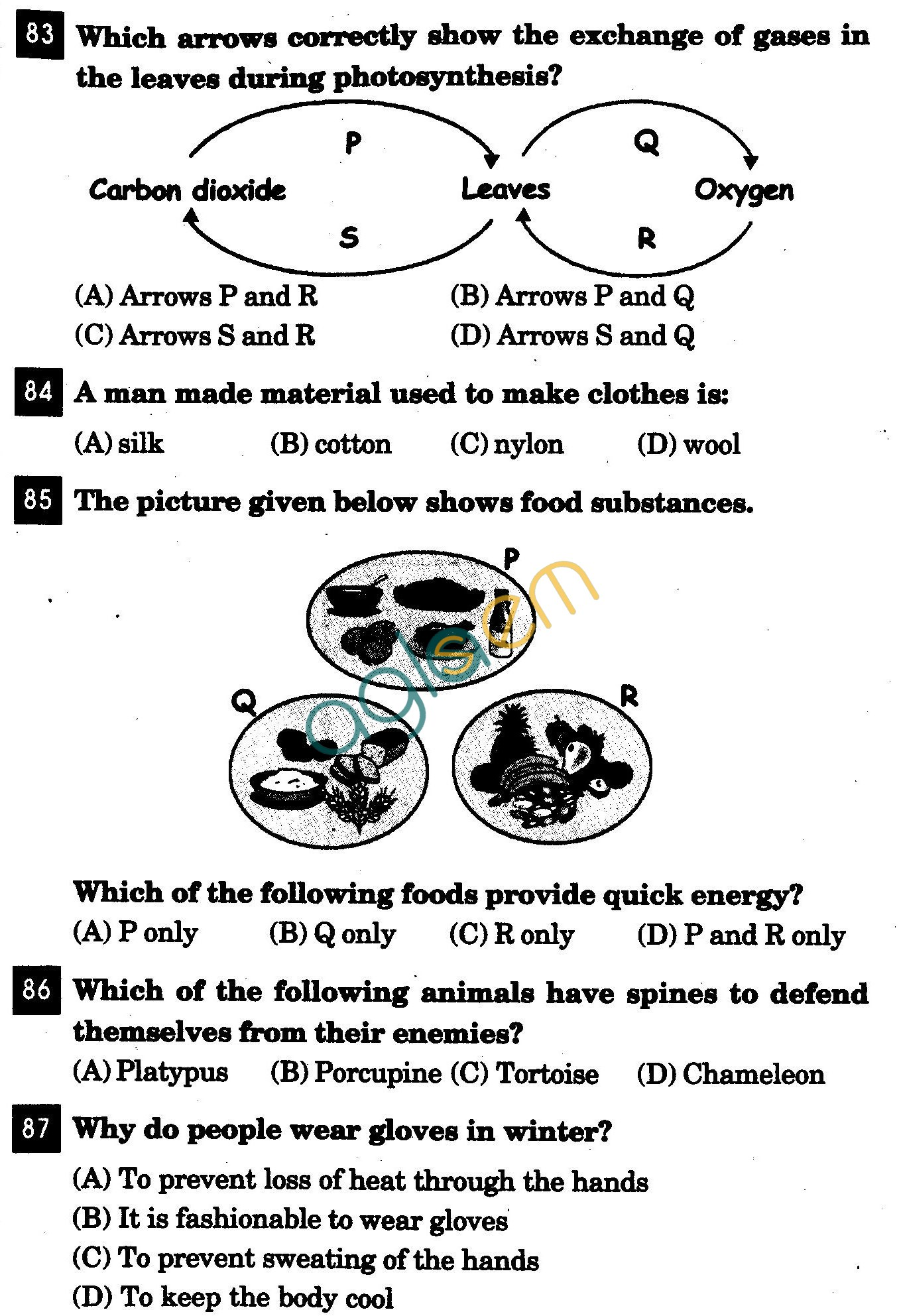 NSTSE 2011: Class IV Question Paper with Answers - Science
