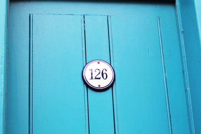 blue door on Columbia Road