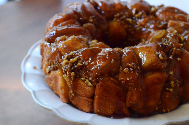 The bundt pan is removed revealing the finished monkey bread.