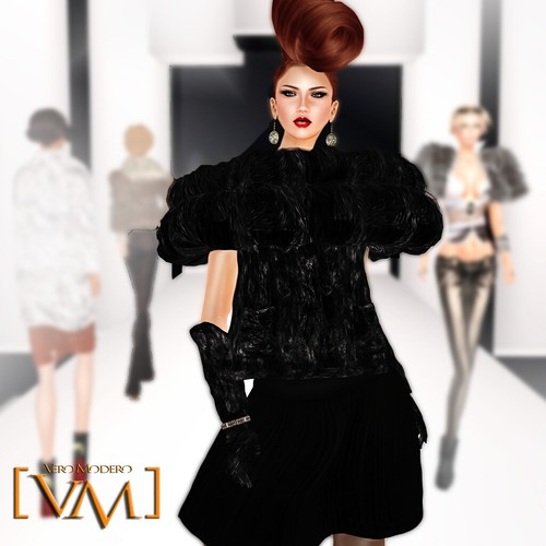 [VM] VERO MODERO _ Siyah Fur Coat Set