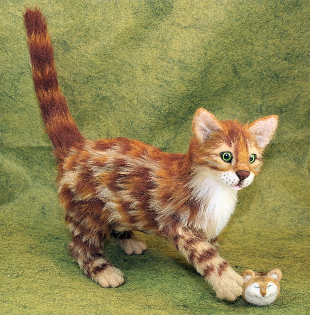 Bengal Cat Needle Felted