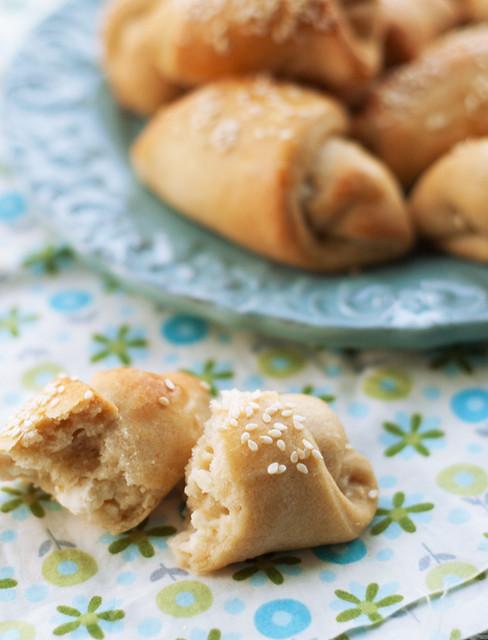 sesame topped feta bread rolls
