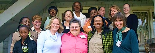 Terry Dodge SSL (front row, centre) with the women of the Crossroads project