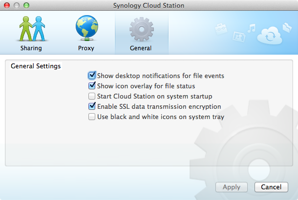 Cloud Station Client - Settings (General)