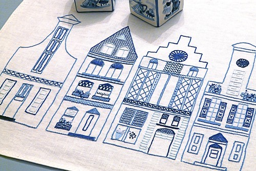 Dutch Canal Houses Embroidered Table Runner
