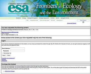 "The Ecological Society of America @ESA_org are ""opening access to ESA journals"" please pay ""$20.00 for 30 days access"" to find out more..."