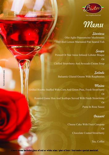 v'day 2013 Bistro menu