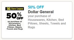 image relating to Printable Dollar General Coupons known as 50% off Housewares, Kitchen area, and Linens at Greenback Over-all