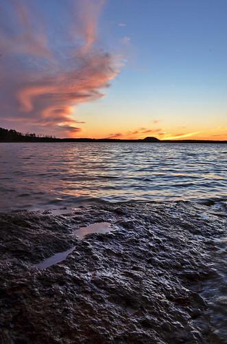 pink sunset lake water colors rock vertical clouds point rockformation greersferry devilsforkpark