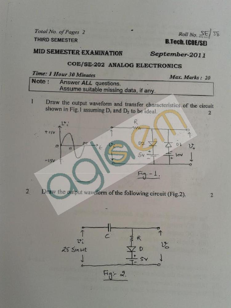 DTU Question Papers 2011 - 3 Semester - Mid Sem - COE-SE-202