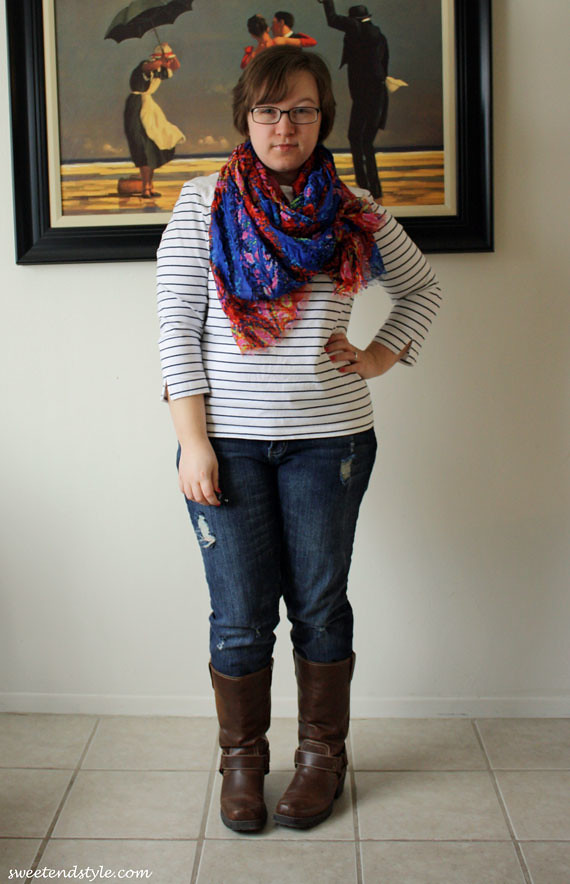 blue and red scarf, stripes, ripped jeans, boots