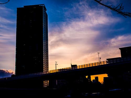 light sunset building silhouette japan architecture lumix landscapes osaka gf2
