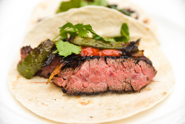 Mole-Crusted Fajitas with Ancho Raisin Sauce