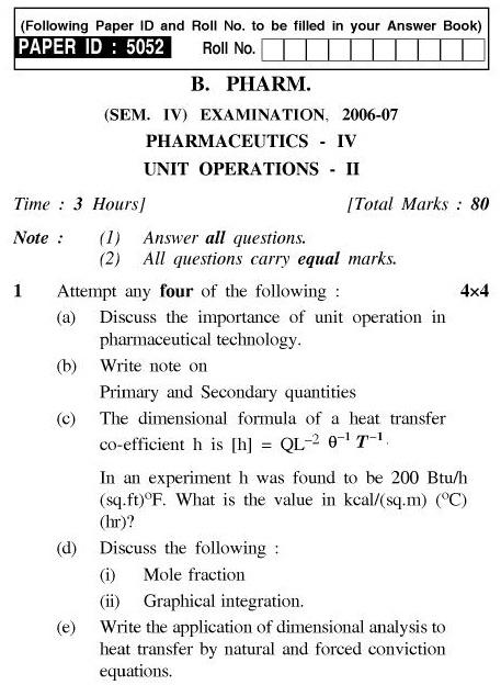 UPTU B.Pharm Question Papers PH-241 - Pharmaceutics-IV Unit Operations-II