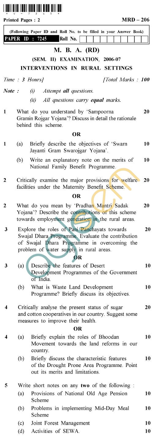 UPTU MBA (RD) Question Papers - MRD-206-Interventions in Rural Settings