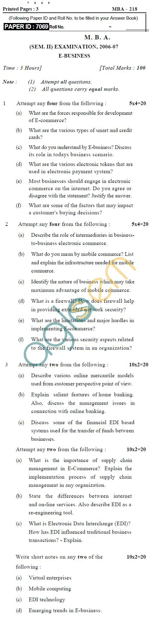 UPTU M.B.A. Question Papers - MBA-218-E-Business