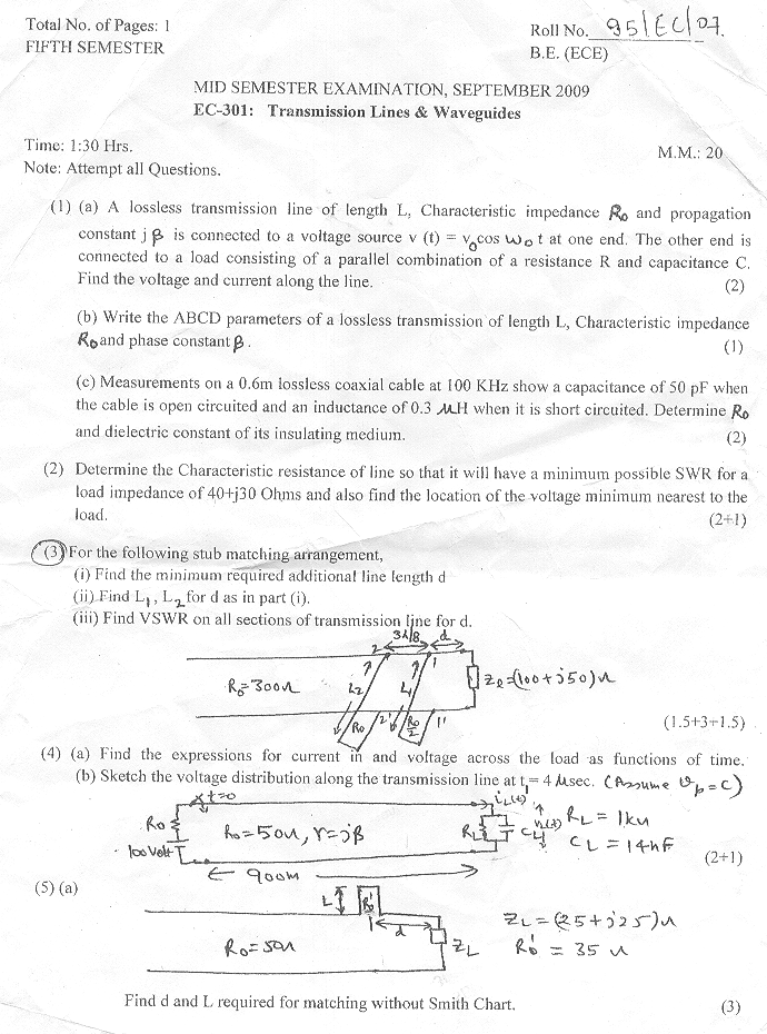 NSIT: Question Papers 2009 – 5 Semester - Mid Sem - EC-301