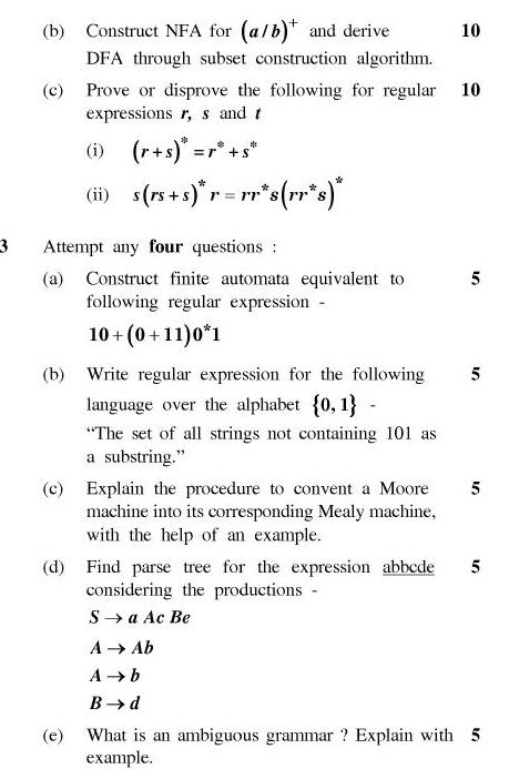 UPTU B.Tech Question Papers - TCS-405-Theory of Automata and Formal Languages
