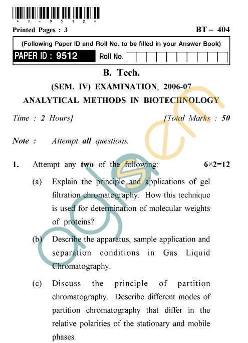 UPTU: B.Tech Question Papers - BT-404 - Analytical Methods In Biotechnology
