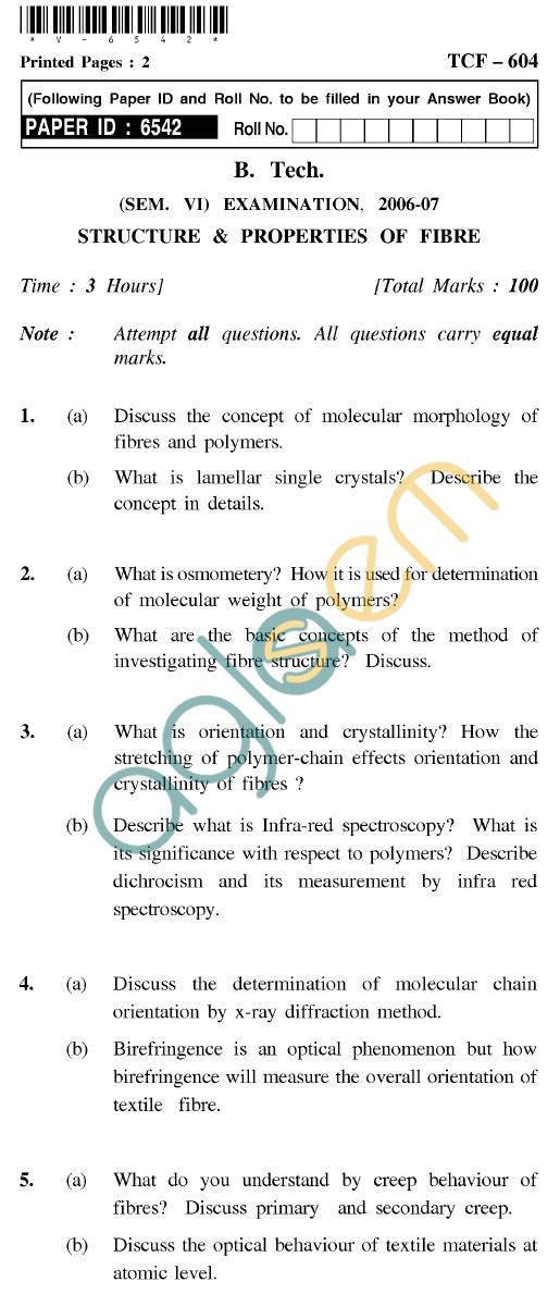UPTU B.Tech Question Papers - TCF-604 - Structure & Properties of Fibre