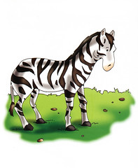 mustang horse(0.0), animal(1.0), animal figure(1.0), zebra(1.0), mammal(1.0), cartoon(1.0), illustration(1.0),