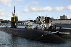 USS Olympia (SSN 717) approaches the pier at Joint Base Pearl Harbor-Hickam as she returns home March 4 from a seven-month deployment to the U.S. 7th Fleet area of operations. (U.S. Navy photo by Mass Communication Specialist 2nd Class Steven Khor)