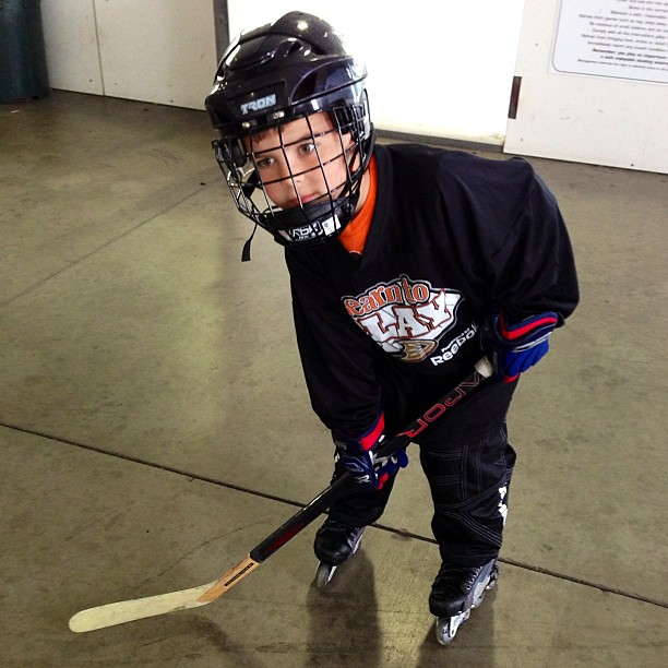 "First official hockey lesson. Other than the hockey time he has had with his adult ""hockey mentors""."