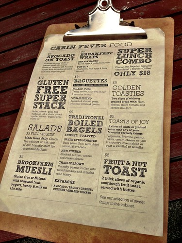Cabin Fever breakfast & lunch menu