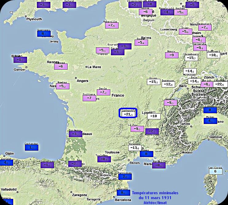 températures minimales glaciales et records de froid du 11 mars 1931 météopassion