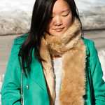 green peacoat faux fur scarf