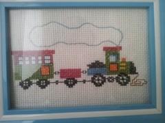çarpı işi trenli bebek odası pano