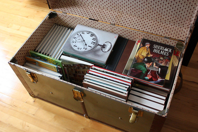 Vintage trunk and books